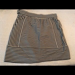Madewell black and white striped miniskirt.